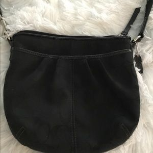 Authentic Black Coach Rounded Canvas Crossbody